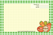 Kawaii Vegetables recipe card